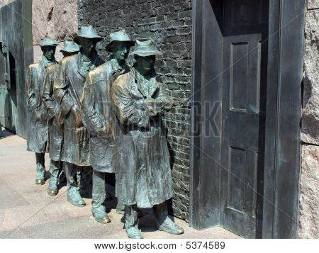 statues of unemployed men standing in a unemployment line during the great depression at the fdr memorial in washington d.c. poster