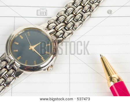 Expensive watch and pen