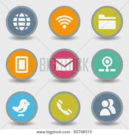 Communication web icons, color circle buttons