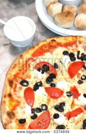 Greek Pizza With Olives And Feta Cheese