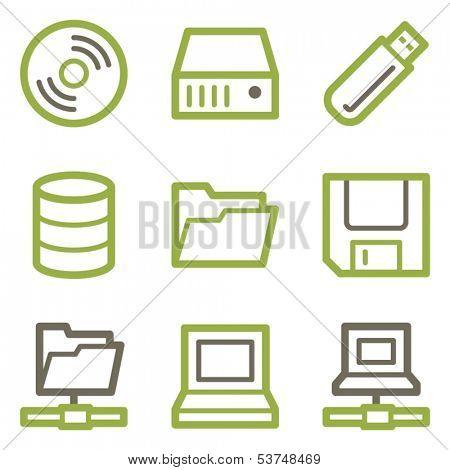 Drive storage icons, green line contour series