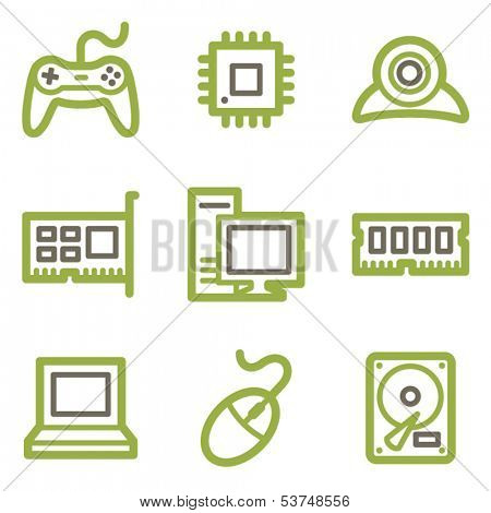 Computer icons, green line contour series