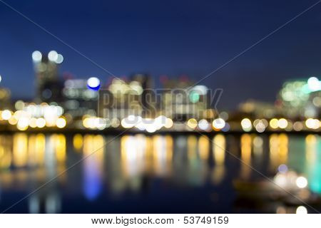 Portland Downtown Out Of Focus City Lights