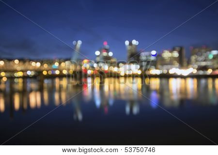 Out Of Focus Portland City Skyline At Blue Hour