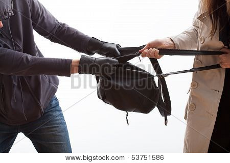 Thief Trying To Snatch A Backpack