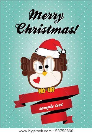 Christmas card with cute owl
