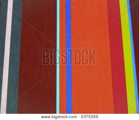 Striped red yellow and blue pattern on fabric poster