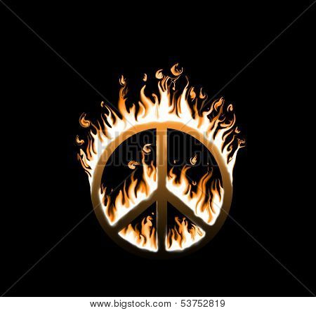 Symbol of peace engulfed in flames - concept of endangered peace