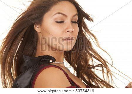 Woman Bandit Hair Blow Eyes Closed