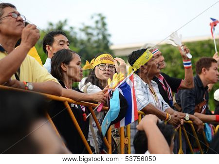 Bangkok - November 11, 2013 : Anti-government Protesters At The Democracy Monument On November 11, 2