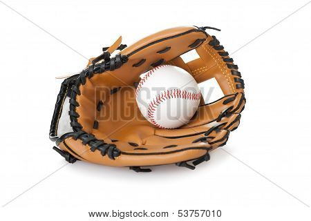 Baseball Glove With Ball Isolated On White