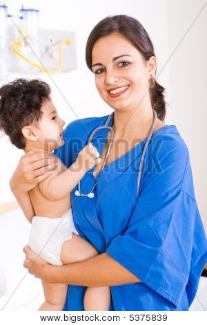 Pediatric Doctor And Baby