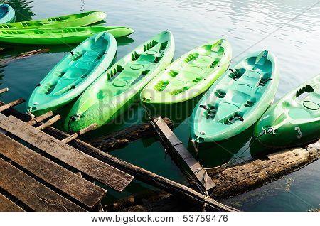 Kayaks In Lake On Ratchaprapa Dam,khao Sok,thailand