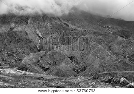 Burnt area at the slope of Mt. Merapi volcano