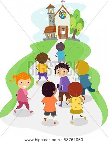 Illustration of Kids Heading Towards the Direction of a Church