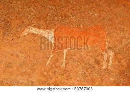 Bushmen (san) rock painting of an antelope, Drakensberg mountains, South Africa