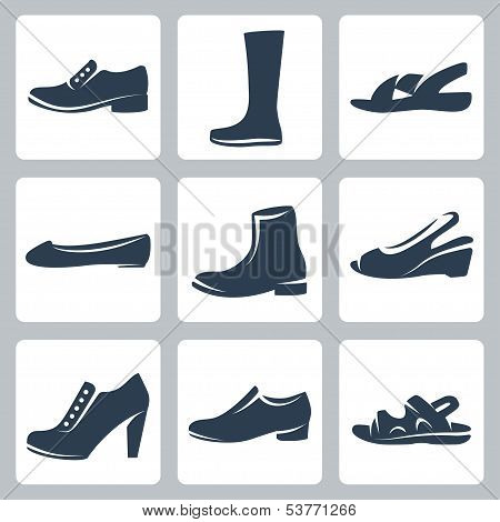 Vector Isolated Shoes Icons Set