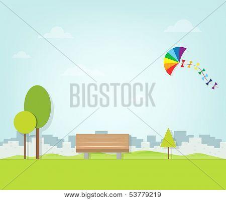 kite flying over the park