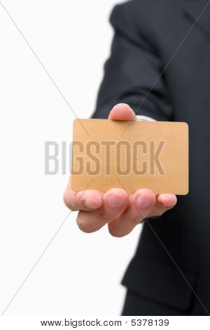 Businessman Showing Gold Credit Card
