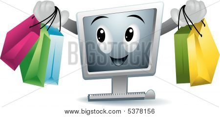 An Illustration of Online Shopping against white background poster