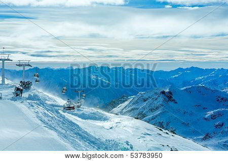 Morning Winter Ski Resort Molltaler Gletscher (austria).