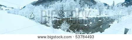 Winter Mountain River Landscape