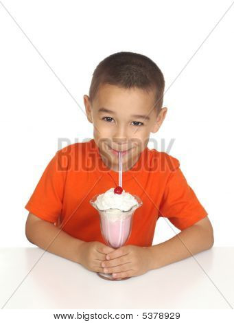 Six-year-old Boy Drinking Milk Shake