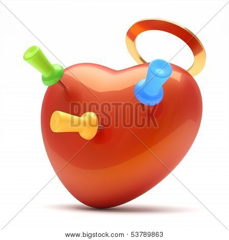 Red Heart With Pins