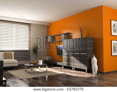 modern interior design (private apartment 3d rendering)