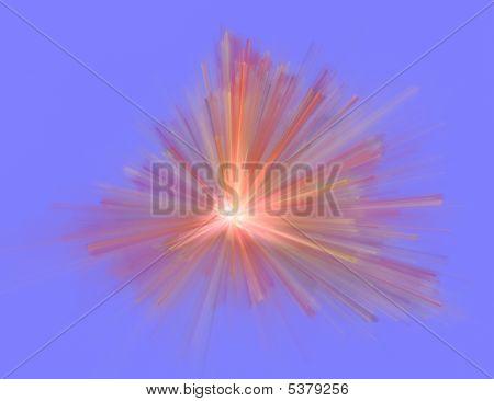 fractal illustration of explosion on blue background poster