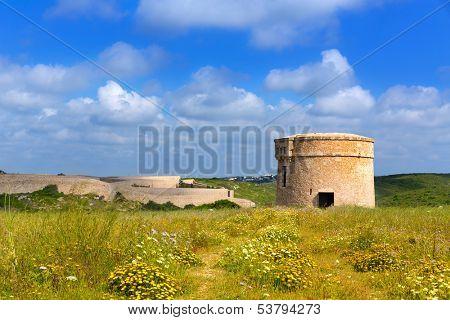 Menorca La Mola watchtower tower Cala Teulera in Mahon at Balearic islands poster