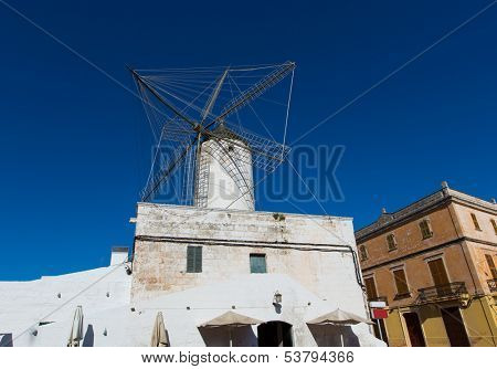 Ciutadella Es Moli des Compte windmill in Ciudadela Menorca at Balearic Islands