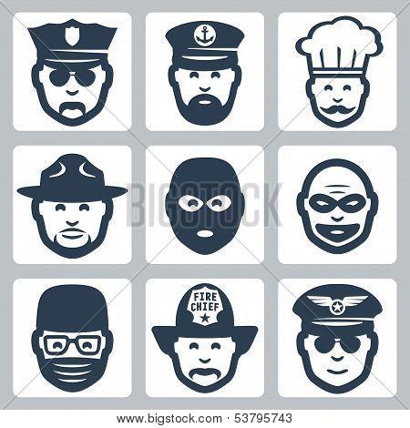 Vector Avatar/profession/occupation Icons Set: Police Officer, Captain, Chef, Ranger, Anti-terrorist