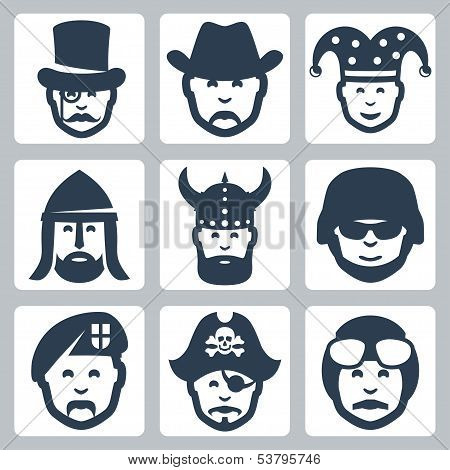 Vector profession icons set: magician cowboy jester knight viking soldier paratrooper pirate pilot poster