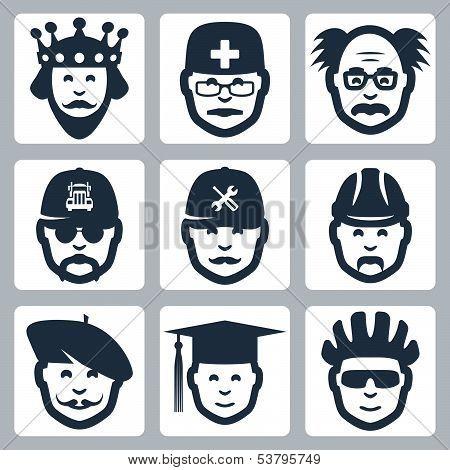 Vector Profession Icons Set: King, Doctor, Scientist, Trucker, Repairman, Builder, Artist, Graduatin