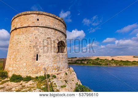 Menorca La Mola watchtower tower Cala Teulera in Mahon at Balearic islands