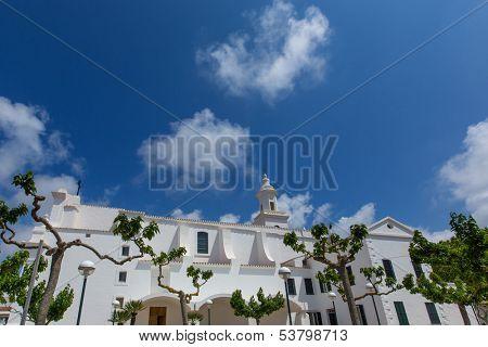 Menorca Sant Lluis San Luis white mediterranean church in Balearic islands poster