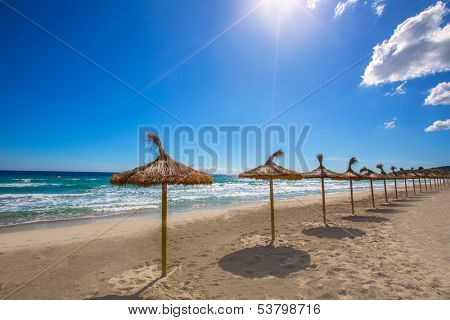 Menorca sunroof row tropical beach at Balearic islands of Spain