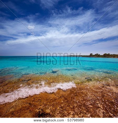Menorca Son Saura beach in Ciutadella turquoise color at Balearic islands poster