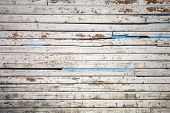 Texture of white weathered wooden lining boards with sky on a background poster