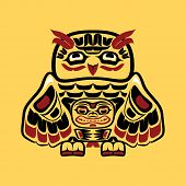 Vector illustration of an owl, stylization of Native North American art poster