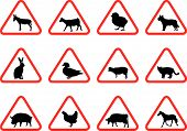a set of twelve warning signs of farm icons poster