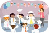 Illustration of Kids Wearing Togas and Graduation Caps poster