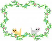 Here is a cute frame of tropical plants, flowers, and stripe Cats. poster