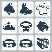 Vector pet icons set: cat dog pawprint mouse collar kennel bowls cage poster