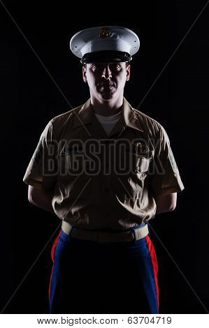 Contour shot of US marine in blue dress uniform