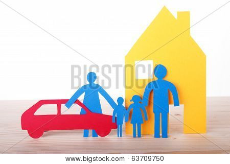 Paper Family With Car And House