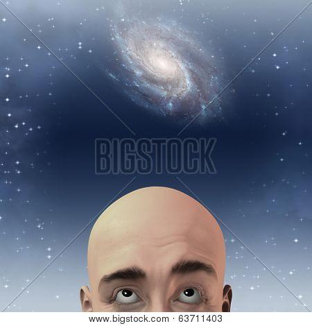 Man gazes up with stars