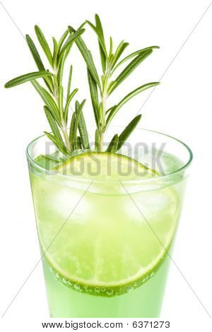 Mint Champagne Alcohol Cocktail With Lime Slice And Rosemary