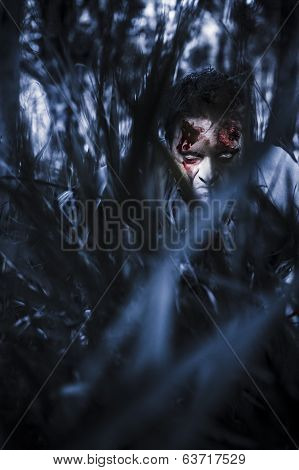Evil Man Hiding In Silence At Dark Forest